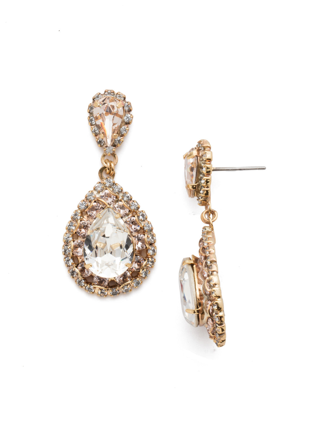 Oval Encrusted Crystal Dangle Earrings - ECW47BGPLS