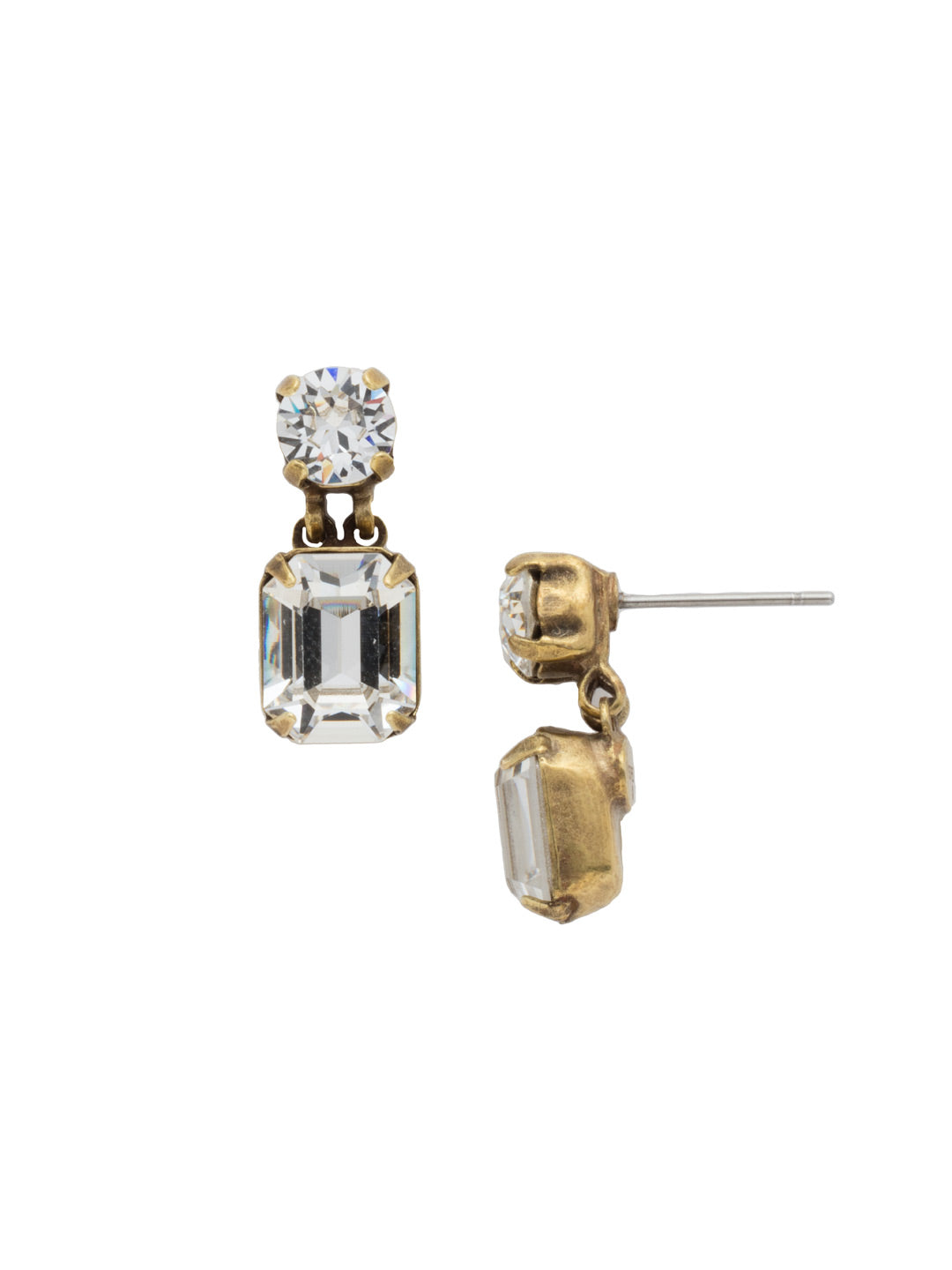 Crystal Octagon and Round Post Earring - ECW7AGCRY