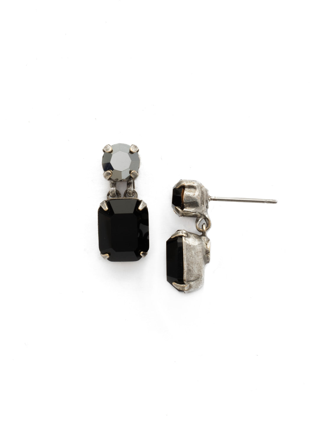 Crystal Octagon and Round Post Earring - ECW7ASBON