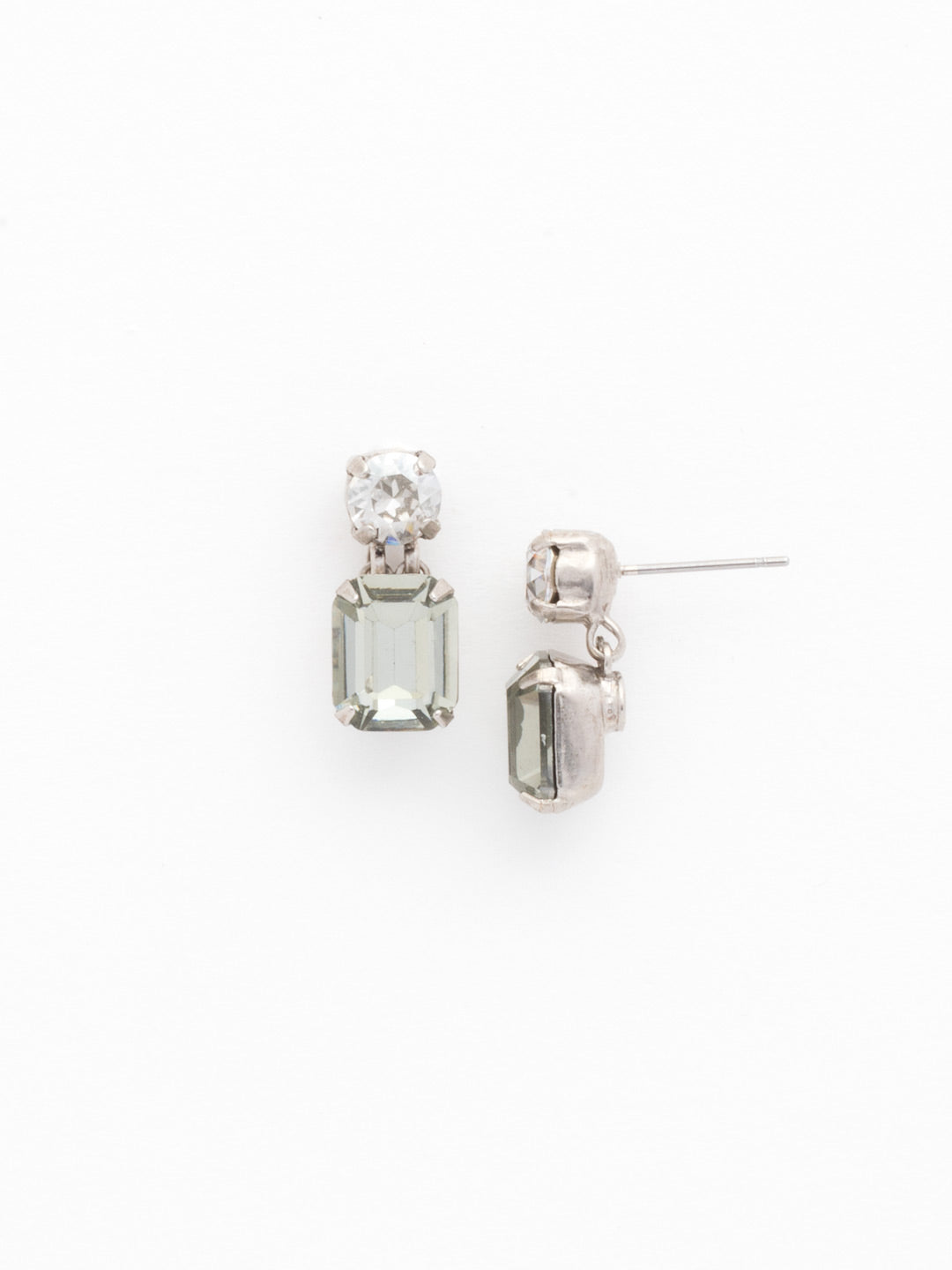 Crystal Octagon and Round Post Earring - ECW7ASCRO