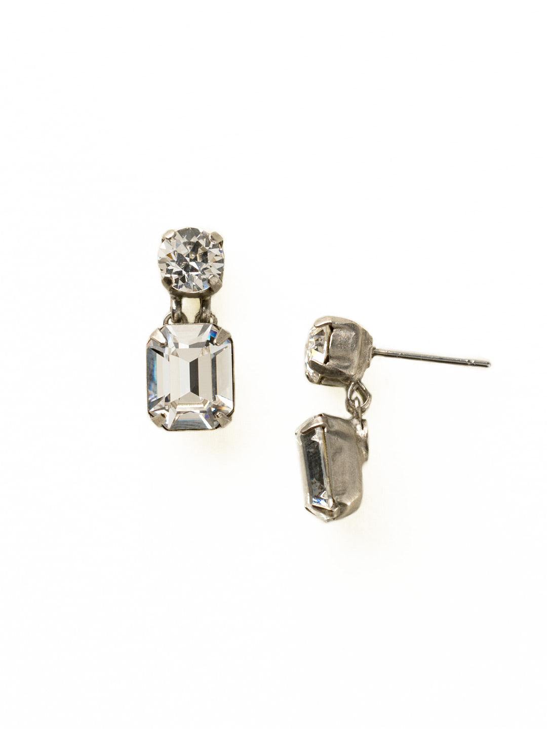 Crystal Octagon and Round Post Earring - ECW7ASCRY