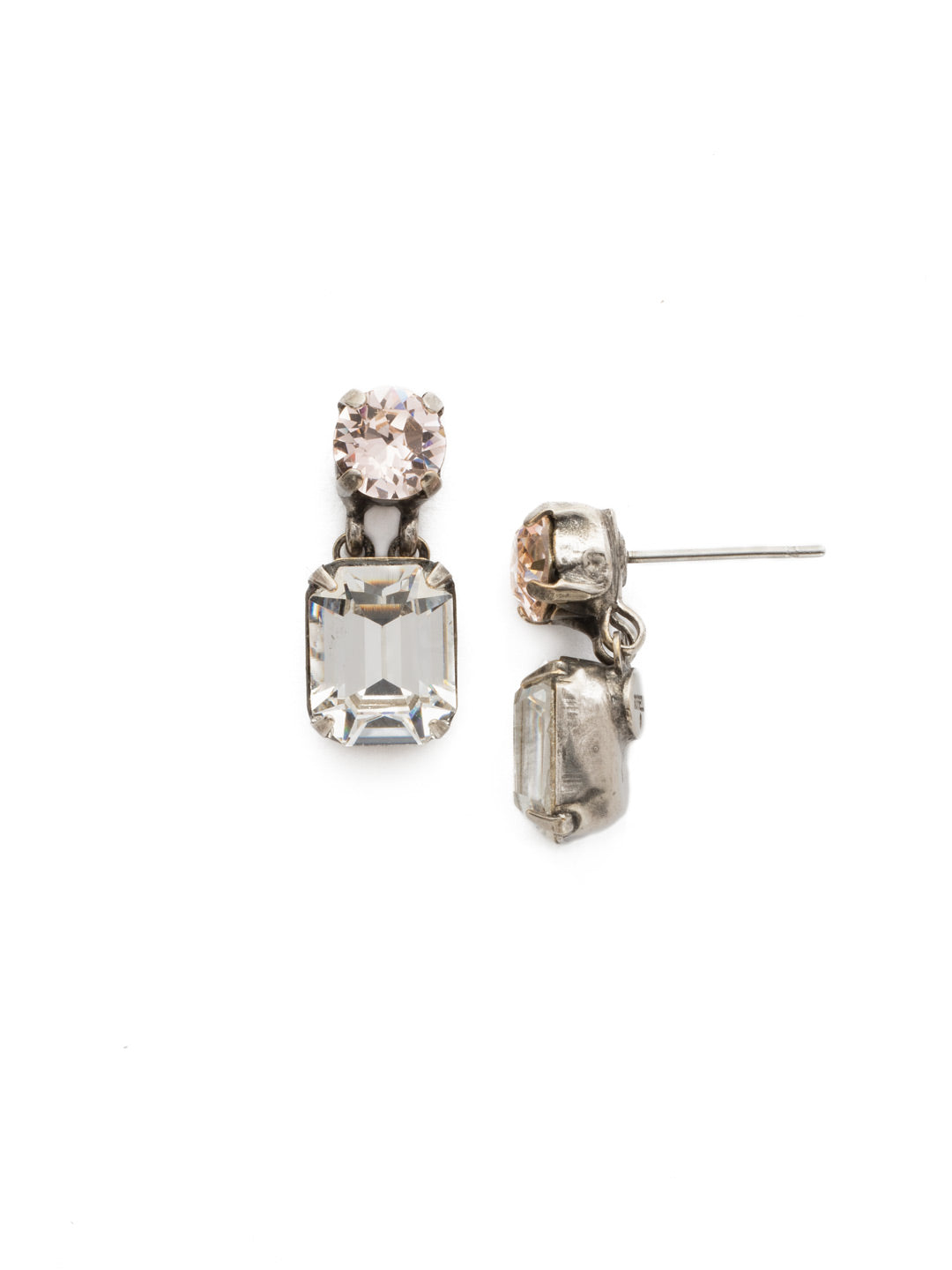 Crystal Octagon and Round Post Earring - ECW7ASSNB
