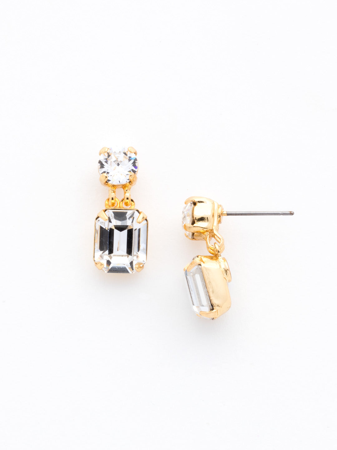 Crystal Octagon and Round Post Earring - ECW7BGCRY
