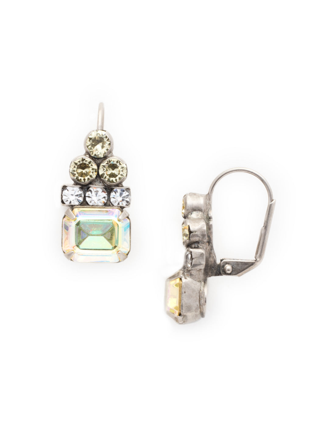 Round Crystal Pyramid and Octagon Dangle Earrings - ECW9ASLZ