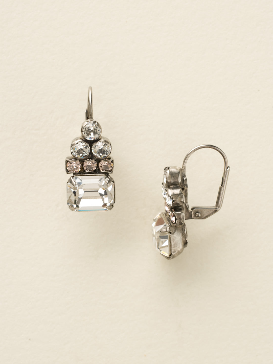 Round Crystal Pyramid and Octagon Dangle Earrings - ECW9ASSNB