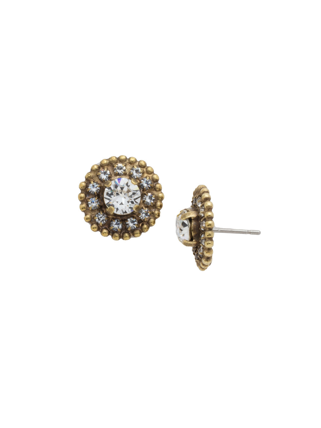 Accented Round Crystal Post Earring - ECY18AGCRY