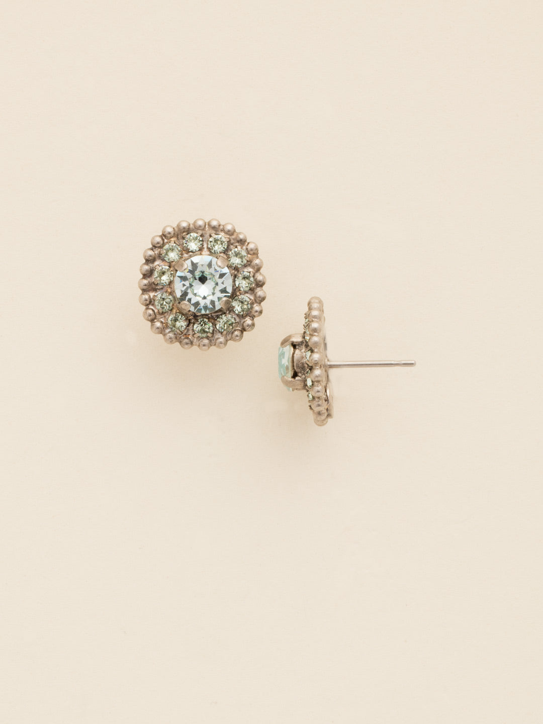 Accented Round Crystal Post Earring - ECY18ASRW
