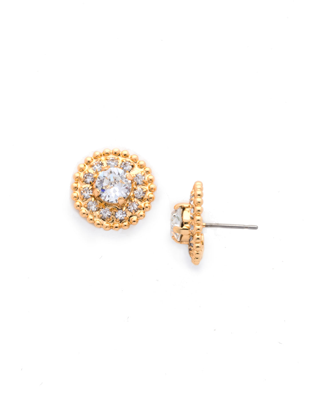 Accented Round Crystal Post Earring - ECY18BGCRY