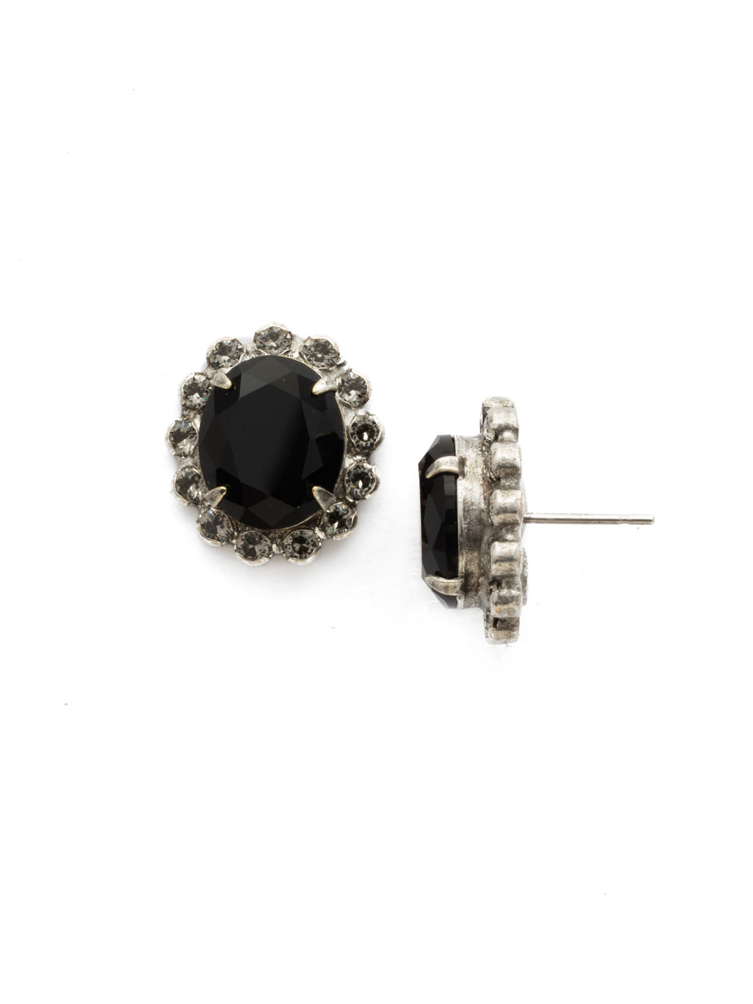 Crystal Encrusted Oval Post Earring - ECY5ASBON