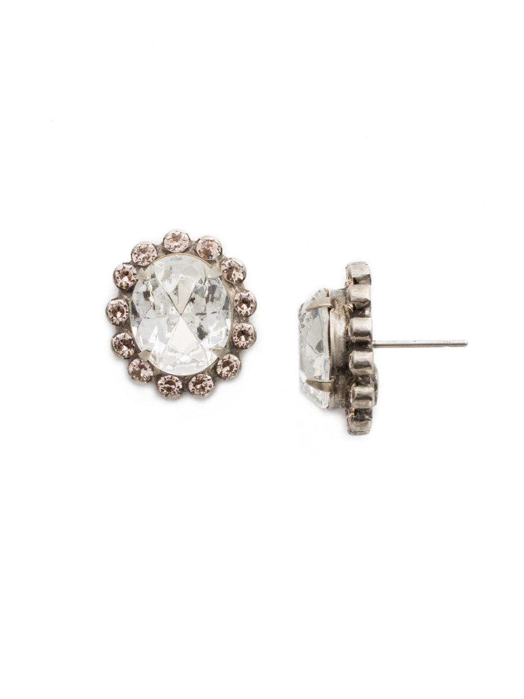 Crystal Encrusted Oval Stud Earrings - ECY5ASSNB