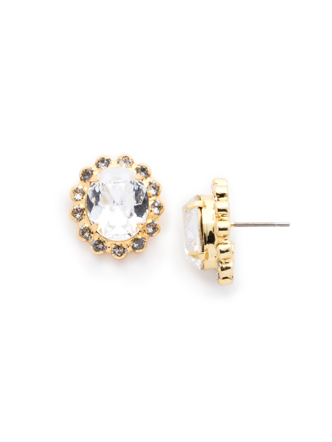 Crystal Encrusted Oval Post Earring - ECY5BGCRY
