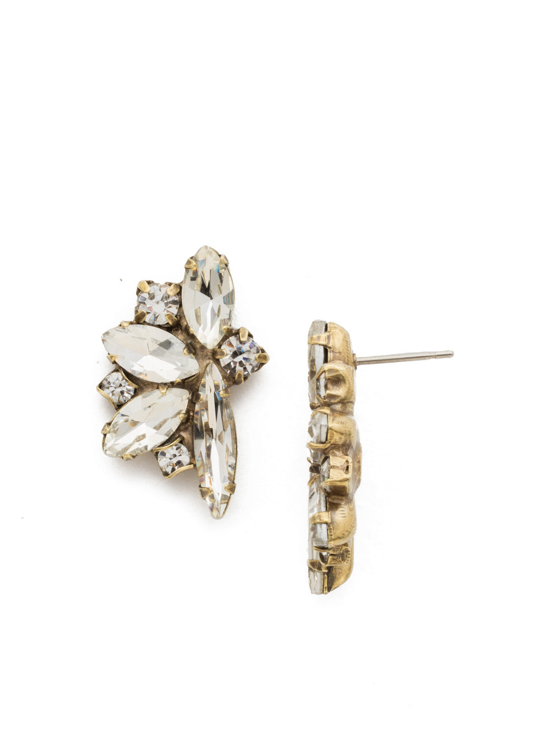 Fanned Navette Crystal Post Earring - ECZ21AGCRY