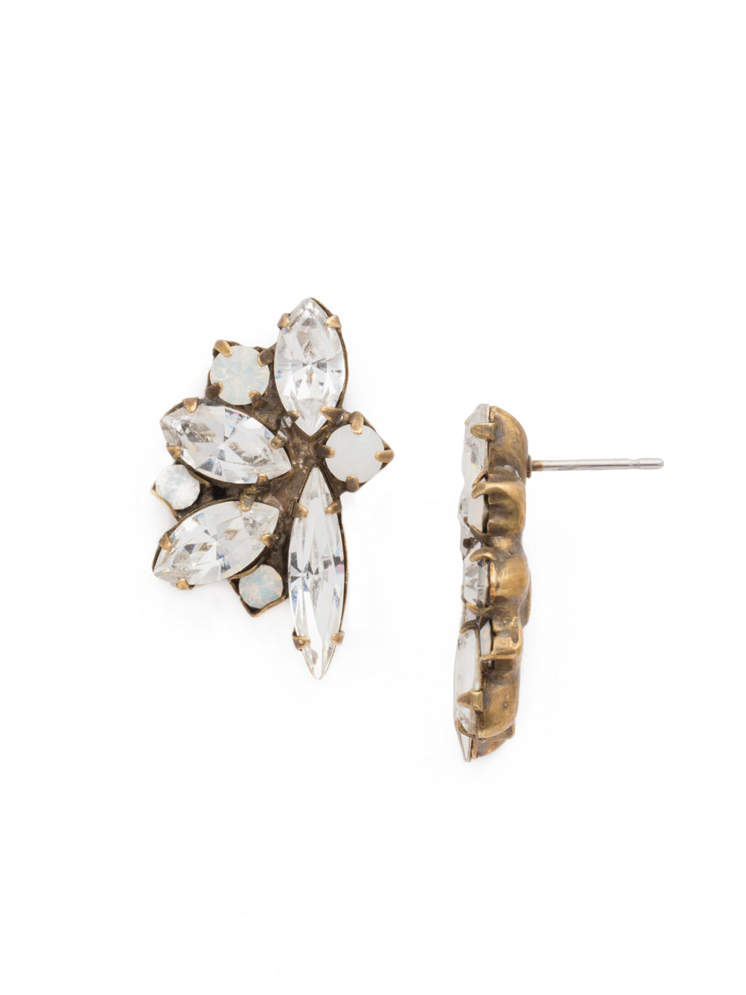 Fanned Navette Crystal Post Earring - ECZ21AGPLU