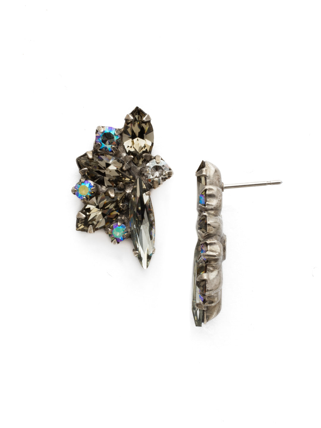 Fanned Navette Crystal Post Earring - ECZ21ASCRO