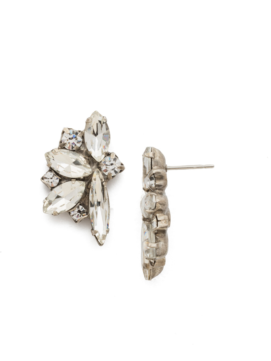 Fanned Navette Crystal Post Earring - ECZ21ASCRY