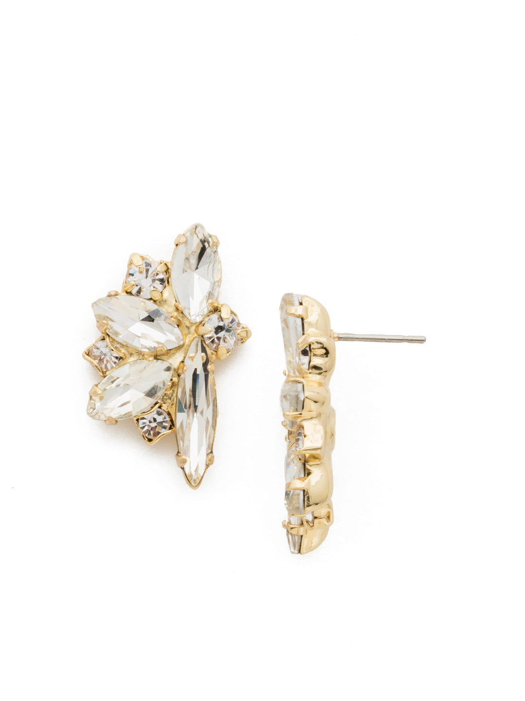 Fanned Navette Crystal Post Earring - ECZ21BGCRY