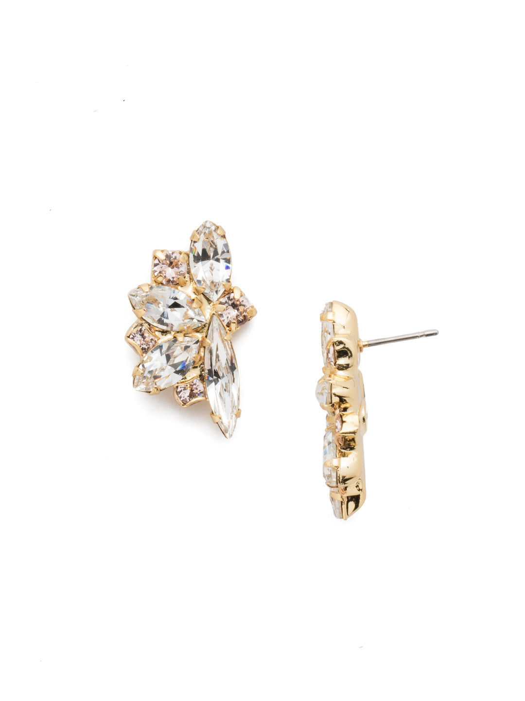 Fanned Navette Crystal Post Earring - ECZ21BGPLS