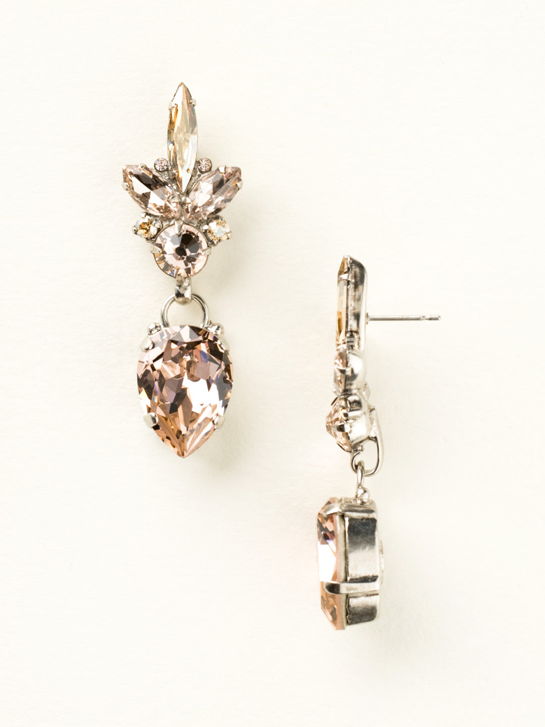 Crystal Cluster and Pear Drop Earring - ECZ30ASSBL