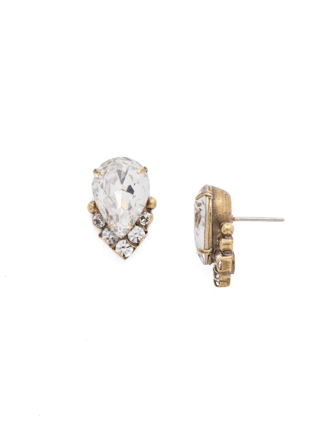 Crystal Teardrop and Cluster Post Earring - EDA18AGCRY
