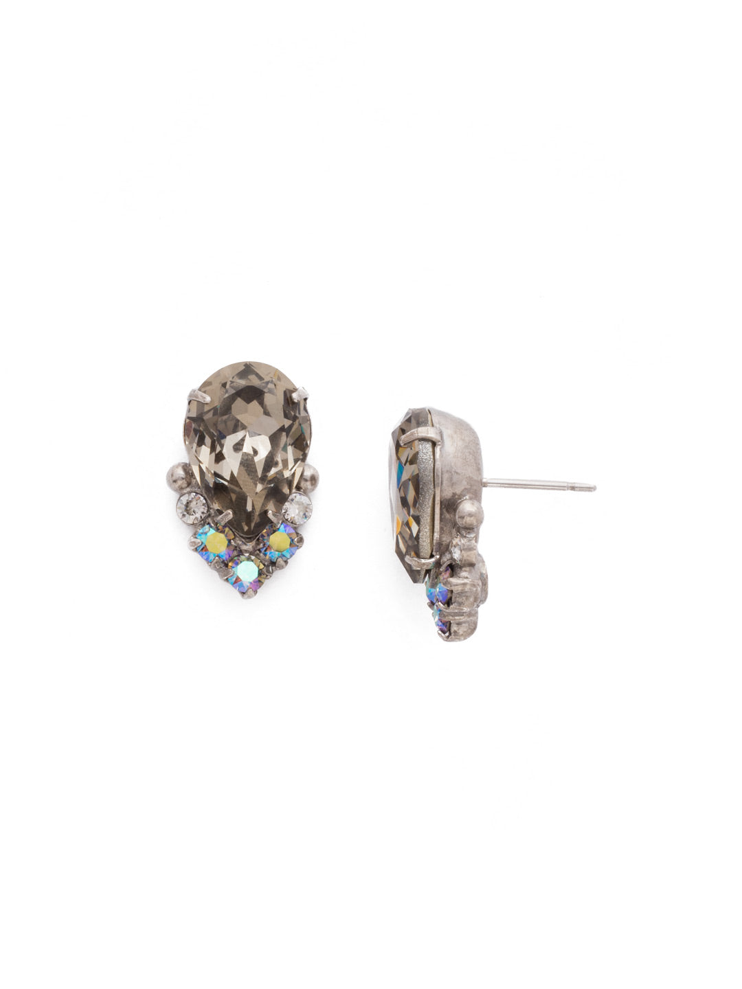 Crystal Teardrop and Cluster Post Earring - EDA18ASCRO