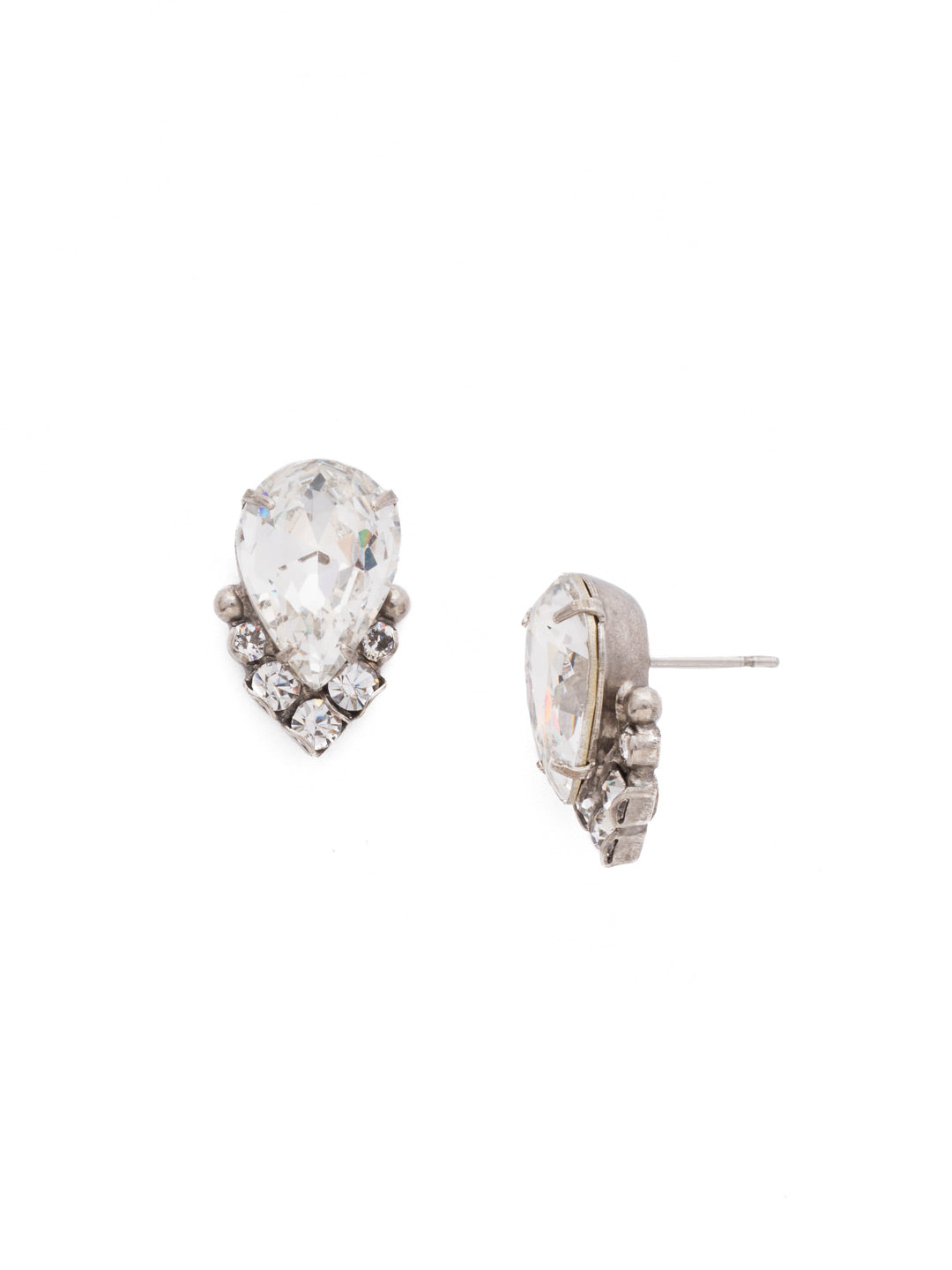 Crystal Teardrop and Cluster Post Earring - EDA18ASCRY