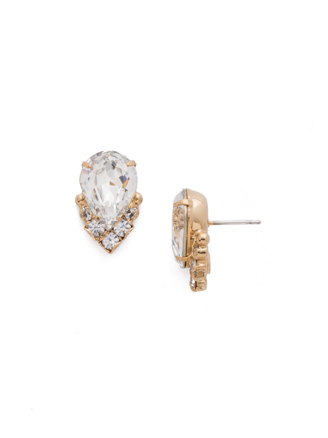 Crystal Teardrop and Cluster Post Earring - EDA18BGCRY
