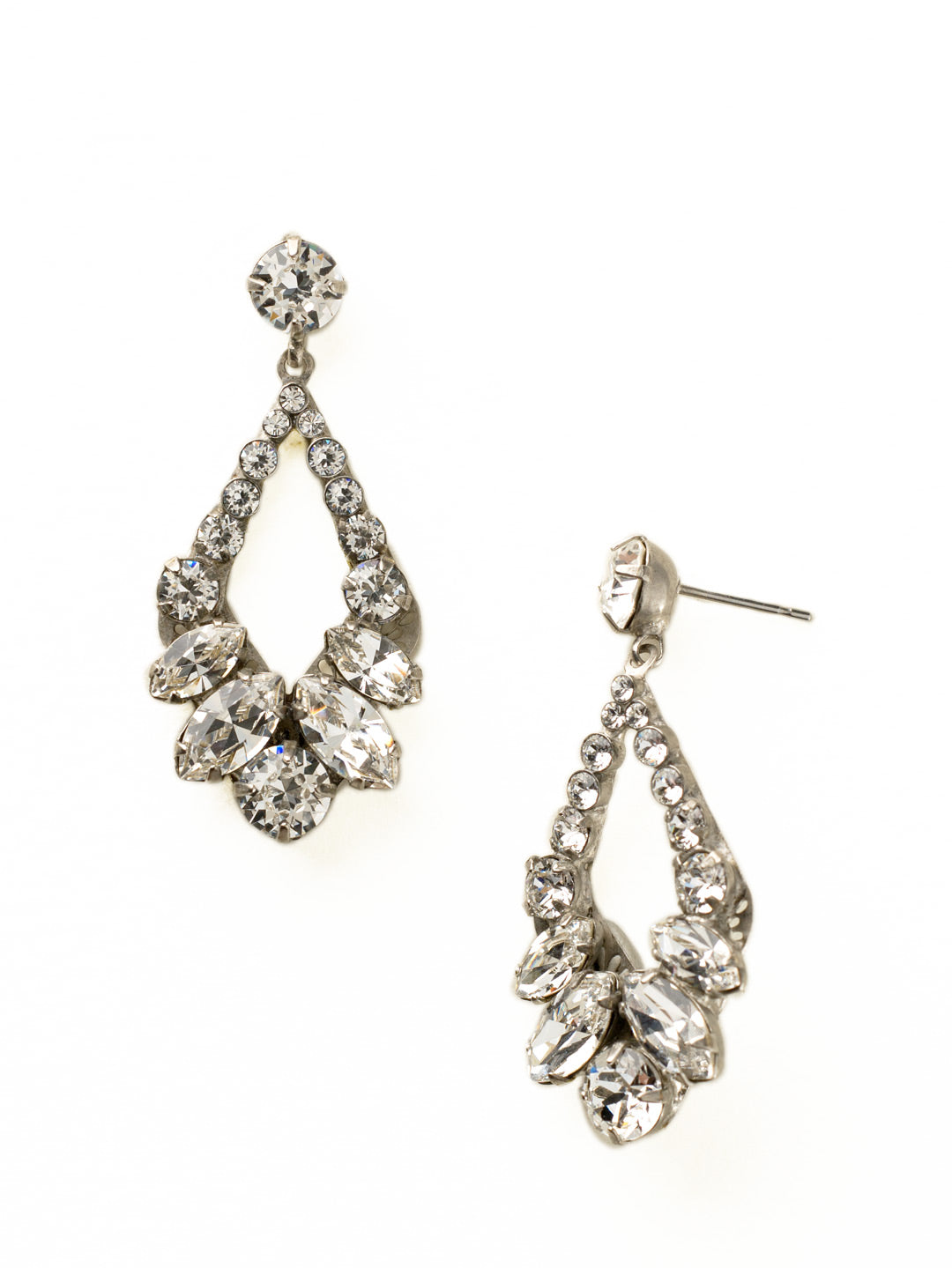 Navette and Round Crystal Adornment Dangle Earrings - EDA53ASCRY