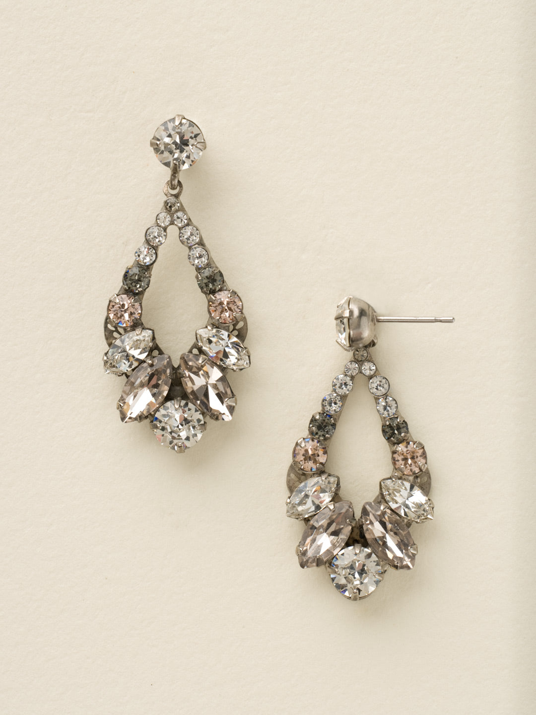 Navette and Round Crystal Adornment Dangle Earrings - EDA53ASSNB