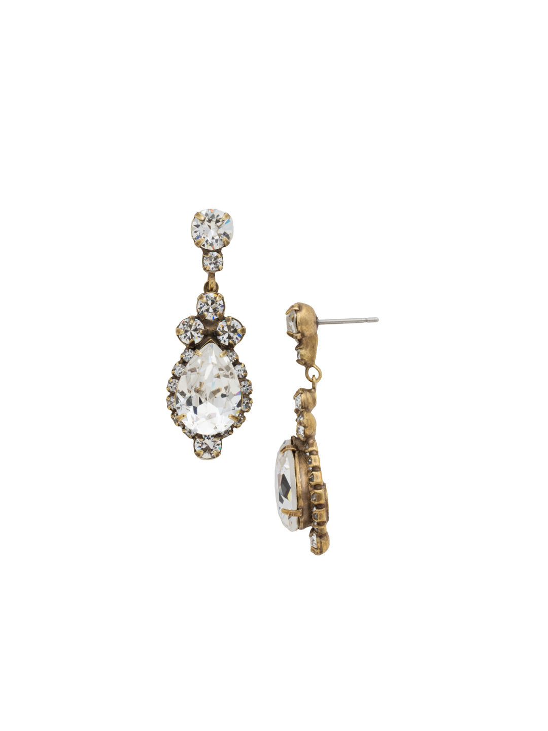 Central Teardrop and Round Crystal Post Earring - EDA55AGCRY