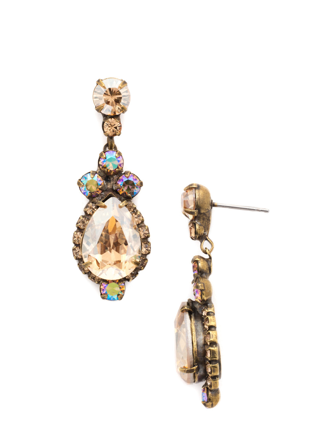 Central Teardrop and Round Crystal Post Earring - EDA55AGNT