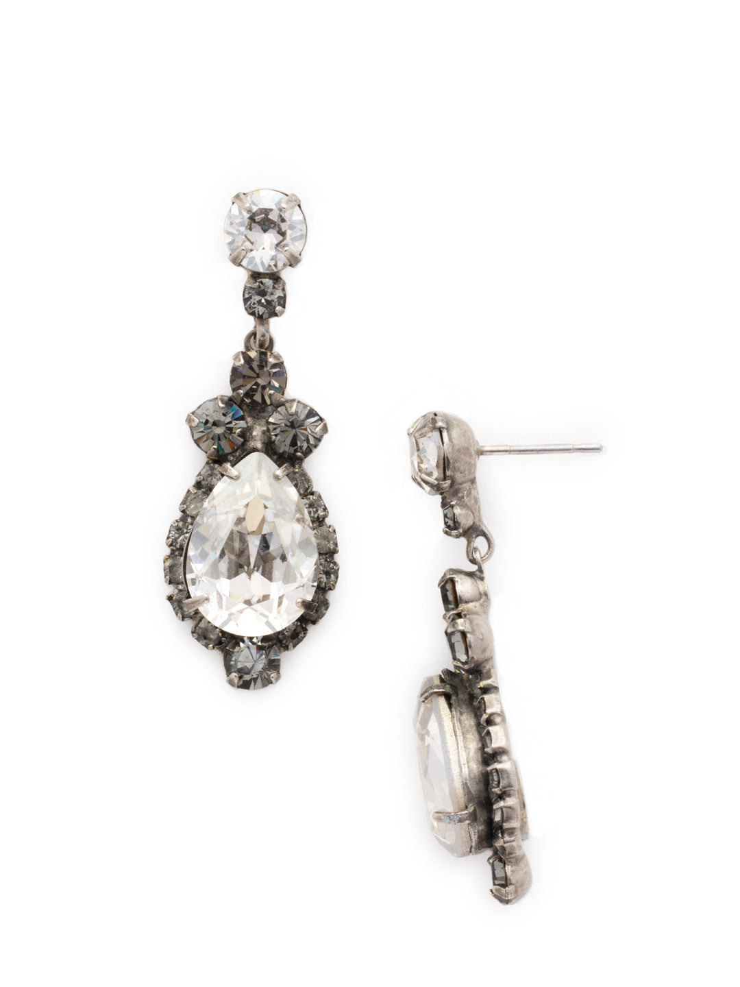 Central Teardrop and Round Crystal Post Earring - EDA55ASCRO