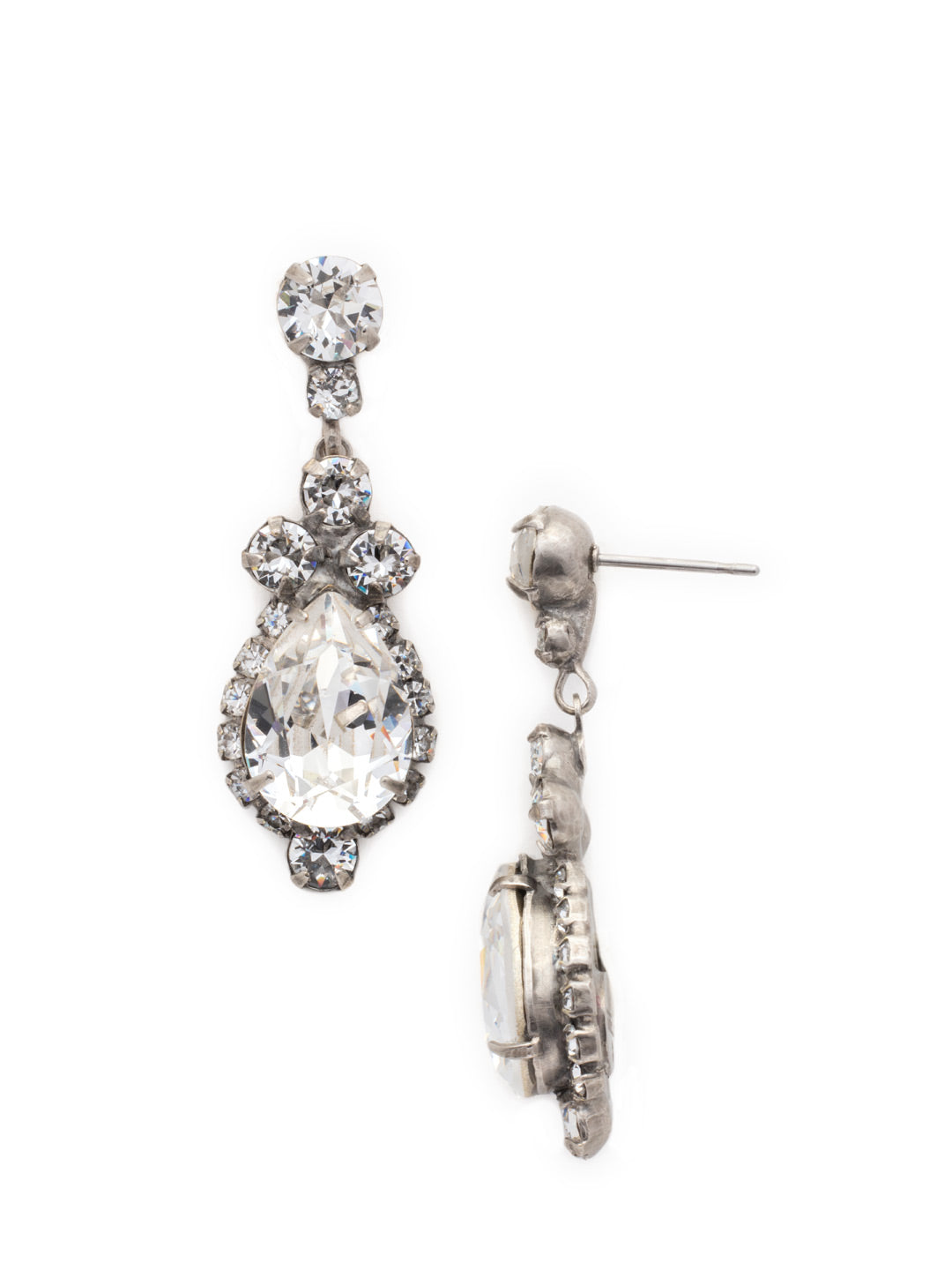 Central Teardrop and Round Crystal Post Earring - EDA55ASCRY