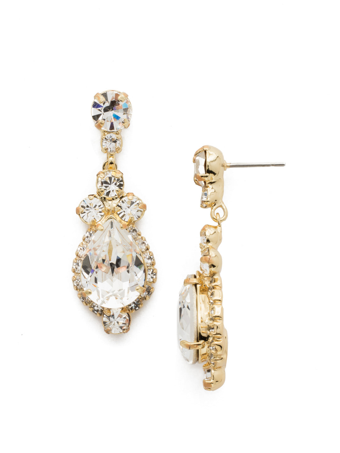 Central Teardrop and Round Crystal Post Earring - EDA55BGCRY