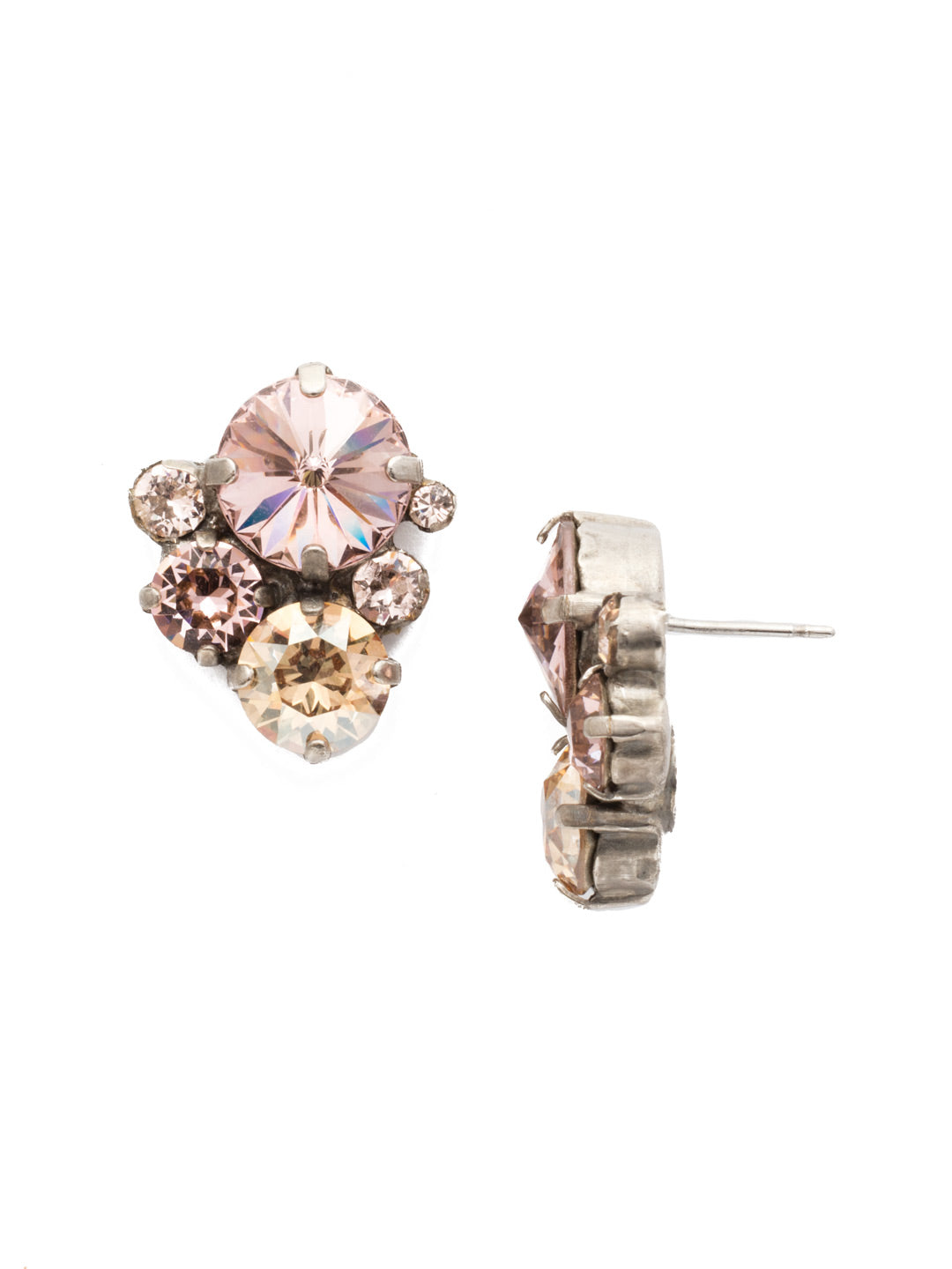 Crystal Assorted Rounds Stud Earrings - EDB11ASSBL