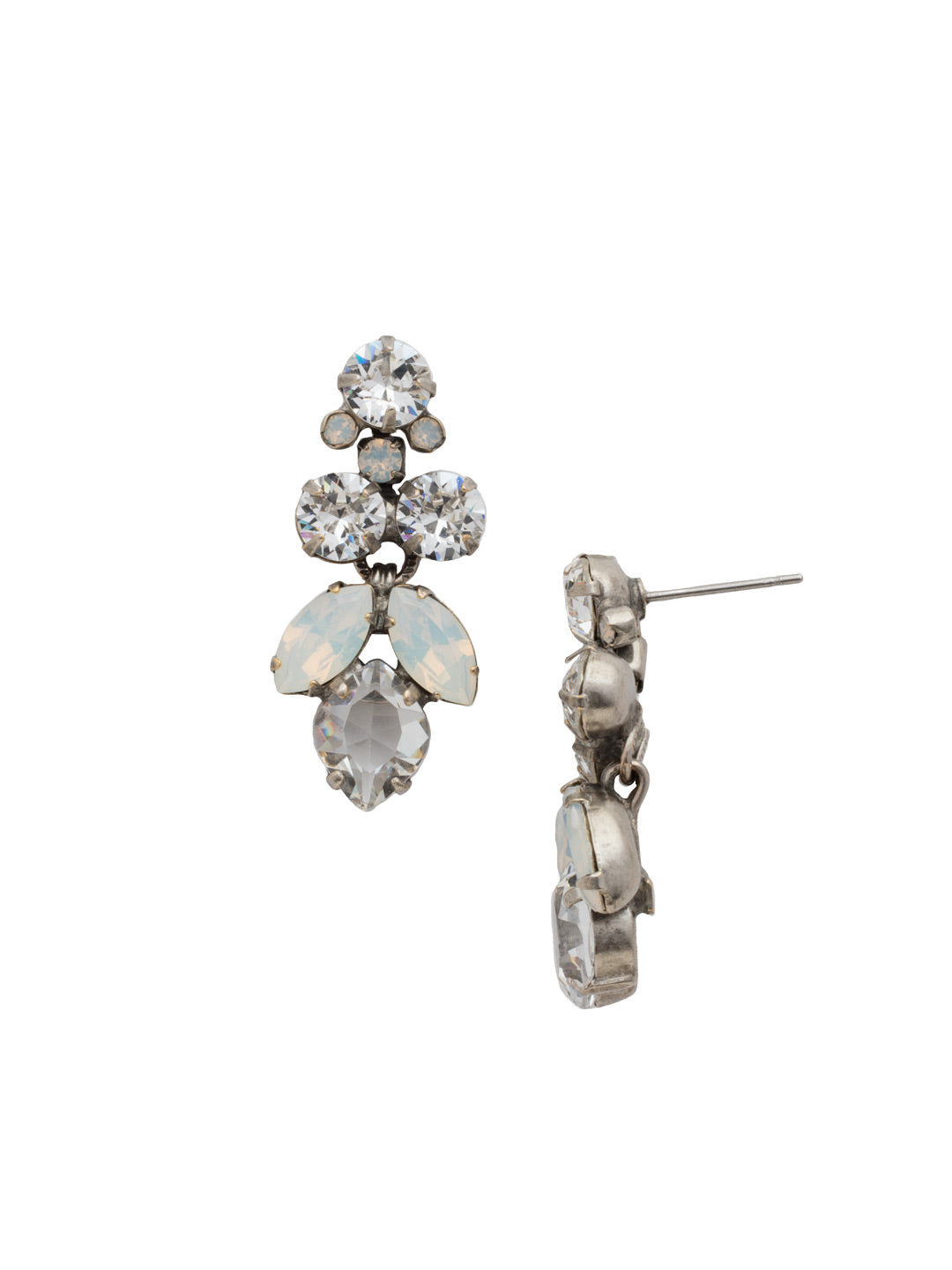 Petite Crystal Lotus Flower Dangle Earrings - EDE79ASWBR