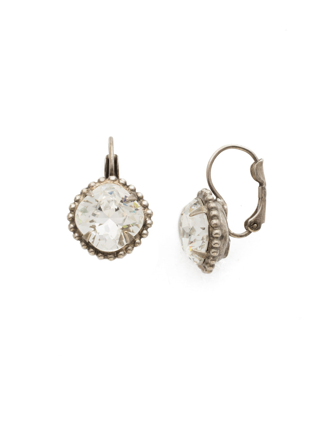 Decorative Cushion Cut French Wire Earring - EDE90ASCRY