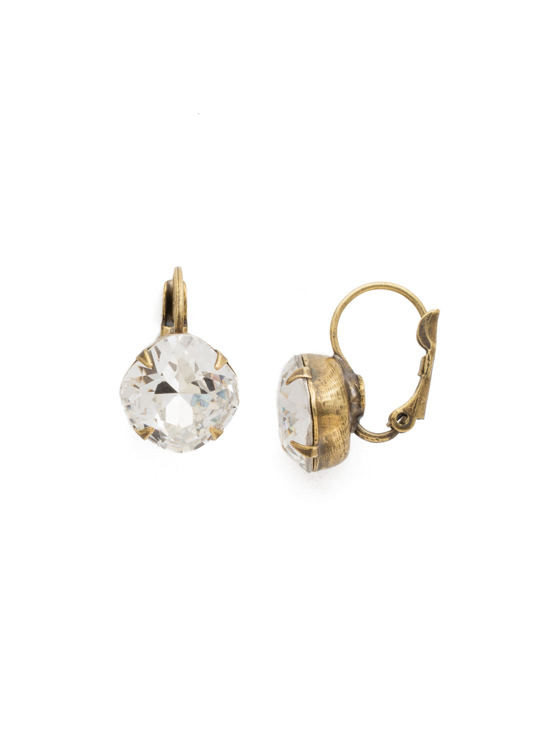 Cushion-Cut Dangle Earrings - EDL12AGCRY