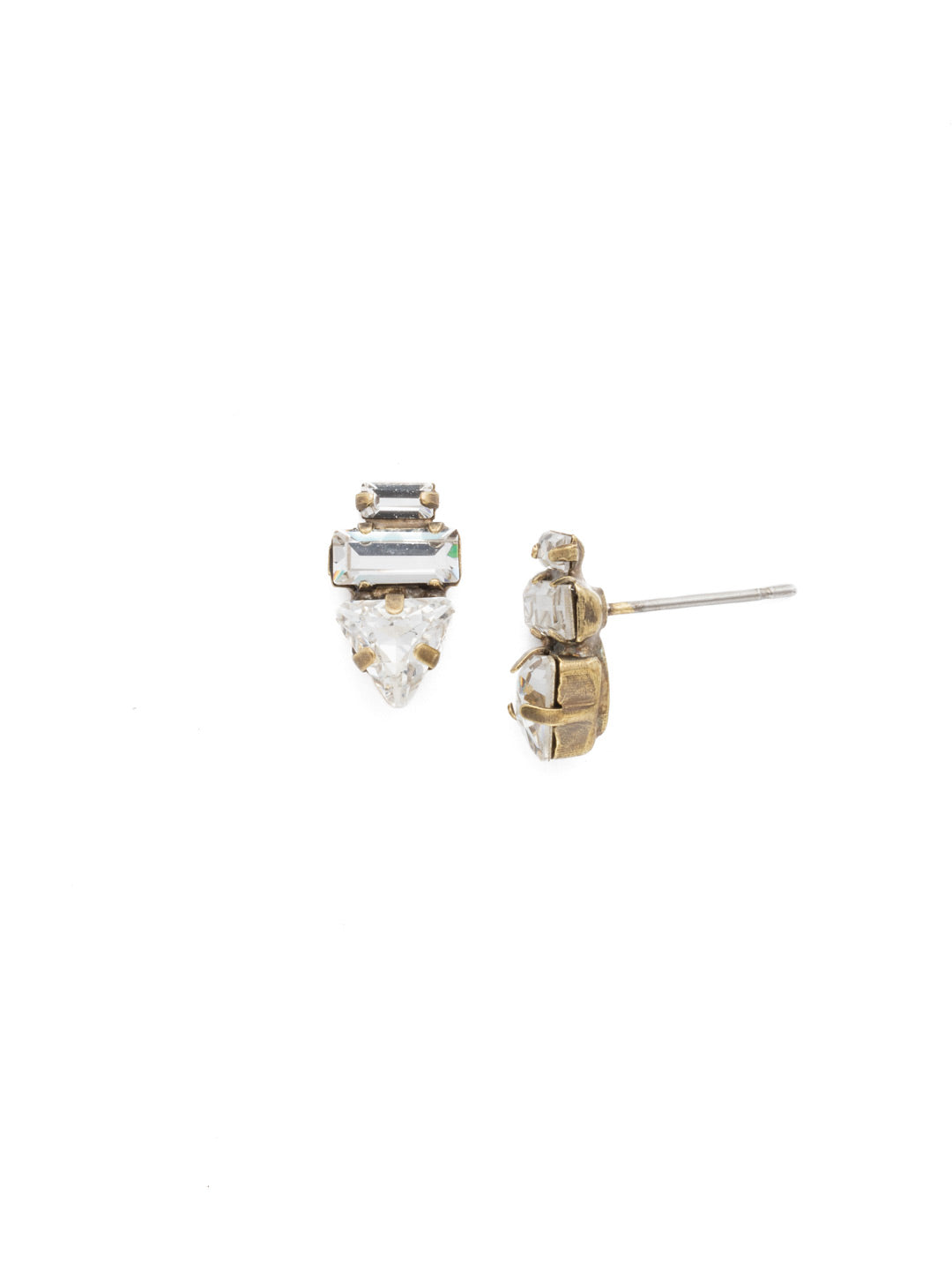 Triple Stack Stud Earrings - EDN104AGCRY