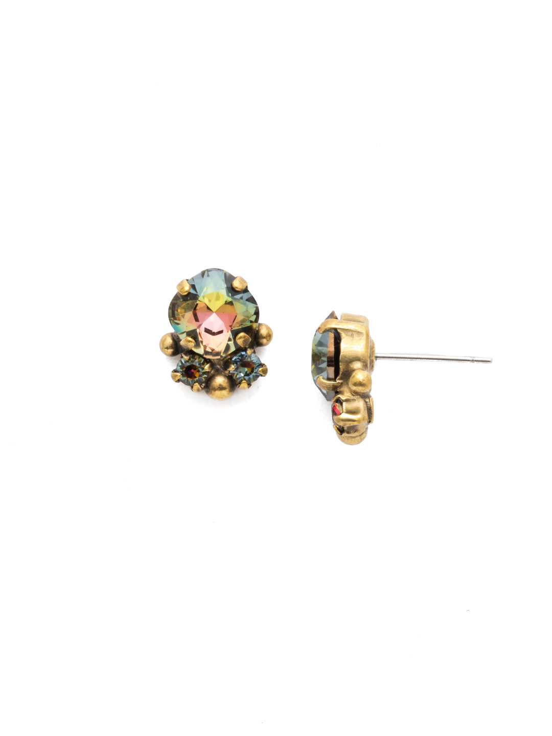 Embellished Cushion Cut Stud Earring - EDN73AGVO