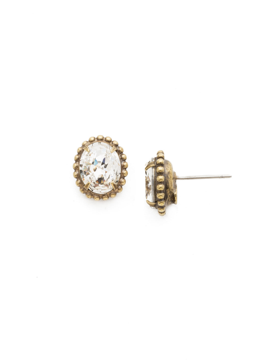 Oval-Cut Solitaire Stud Earrings - EDQ10AGCRY