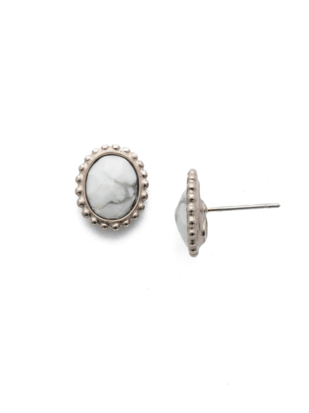 Oval-Cut Solitaire Stud Earrings - EDQ10ASGLC