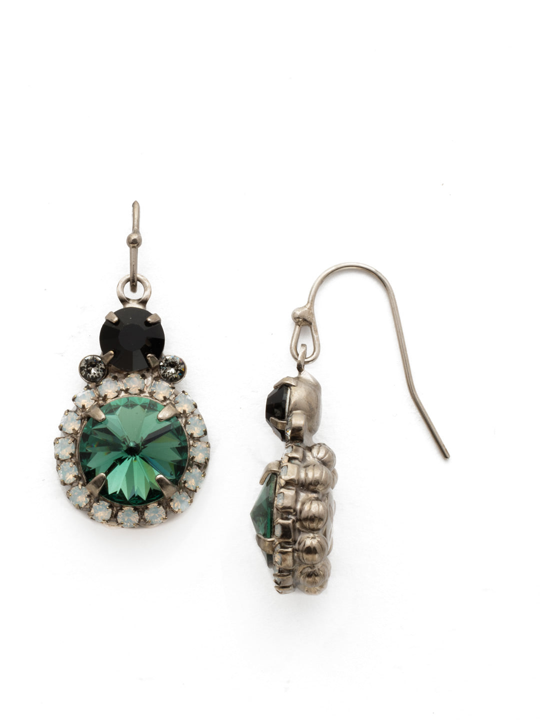 Embellished Rivoli Dangle Earrings - EDU44ASGDG