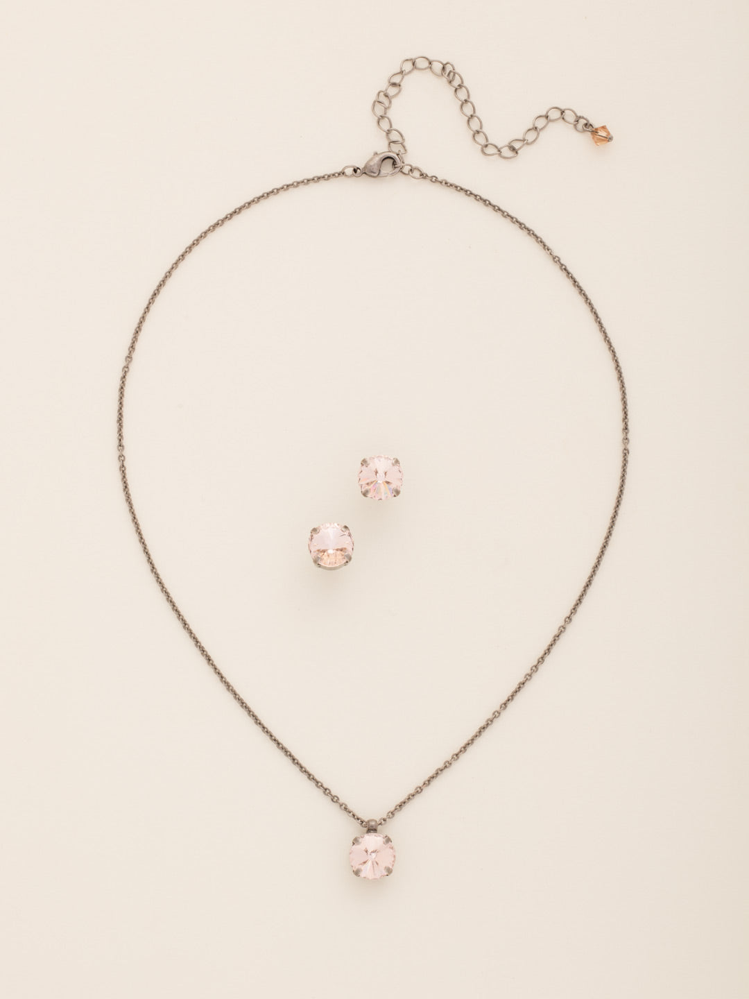 Classic Round Crystal Necklace and Earring Gift Set - GCT66ASSND