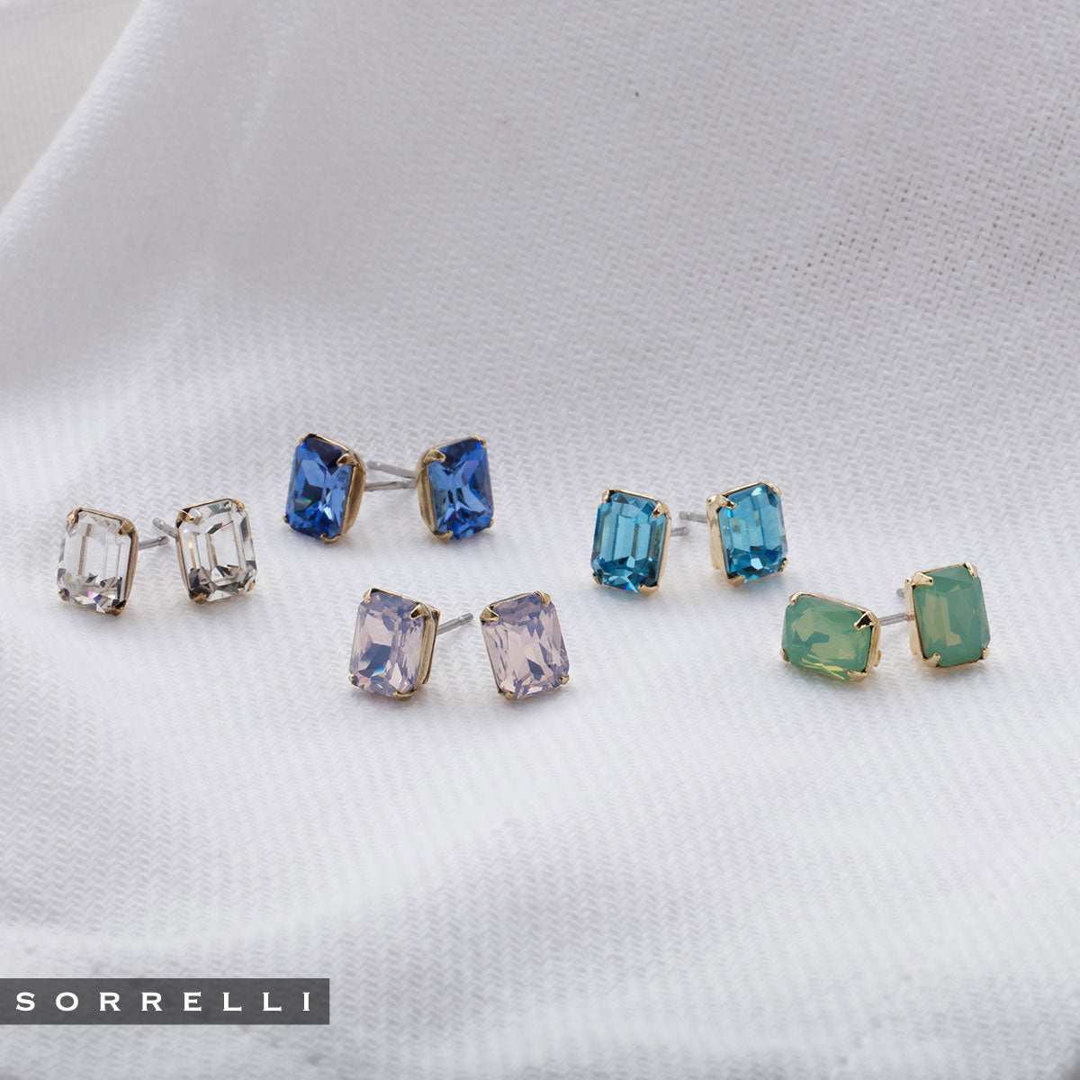 Mini Emerald Cut Stud Earring - Sorrelli Essentials - EBY42AGSAP