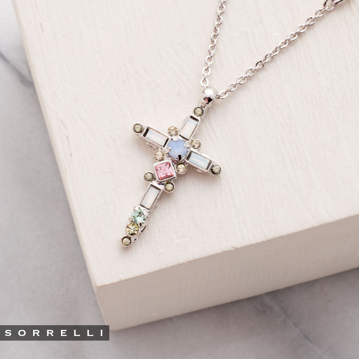 Delicate Sliding Cross Pendant Necklace - NDQ54RHSSU