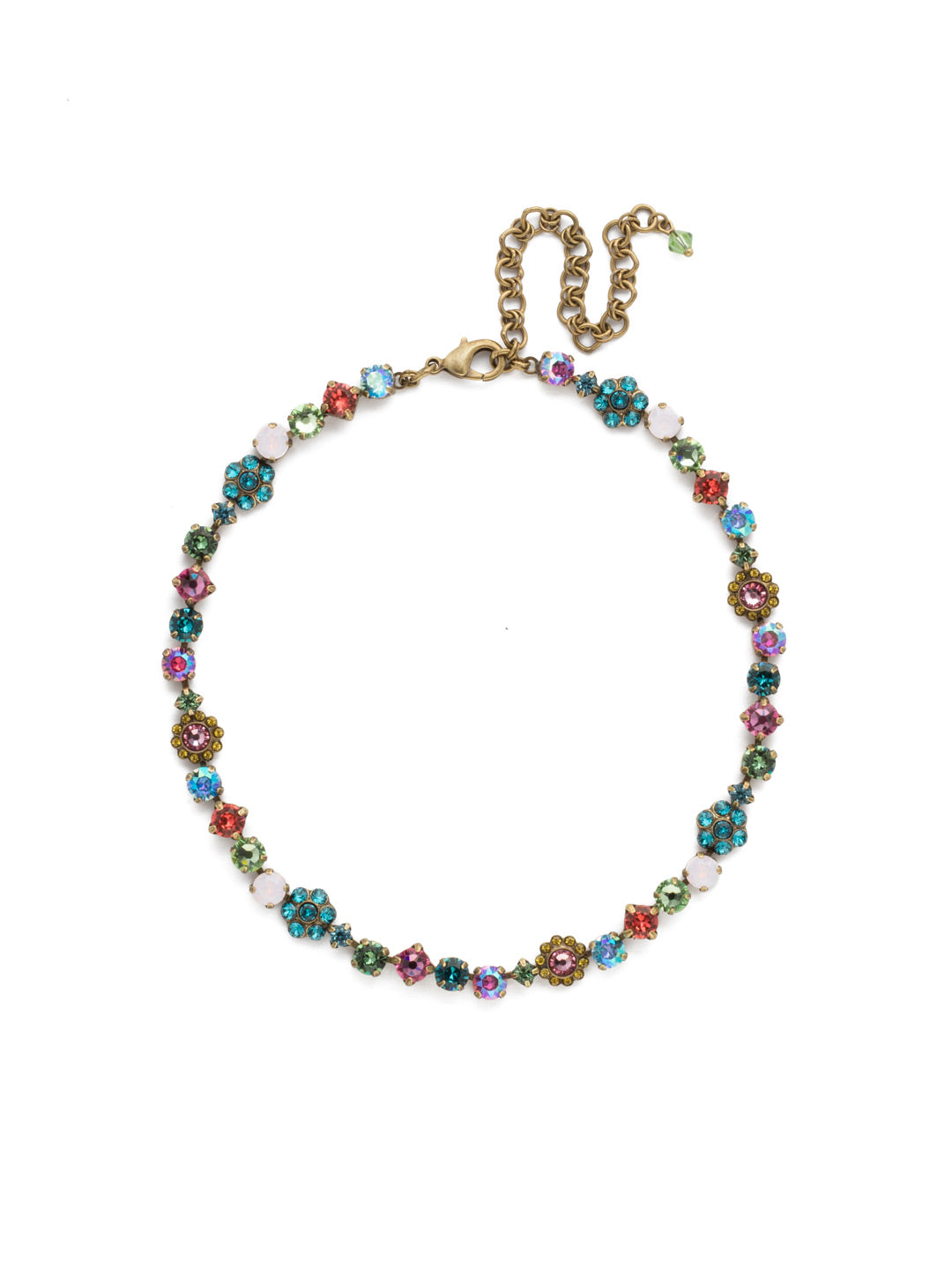 Classic Floral Tennis Necklace - NBE2AGHB