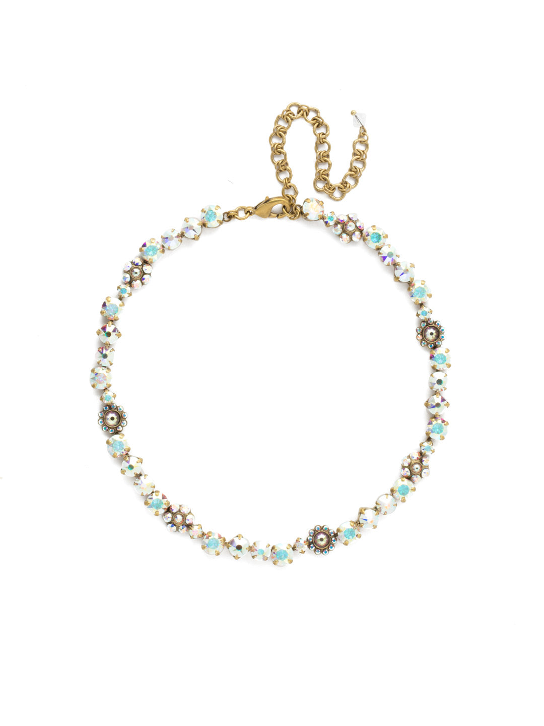 Classic Floral Tennis Necklace - NBE2AGSNF