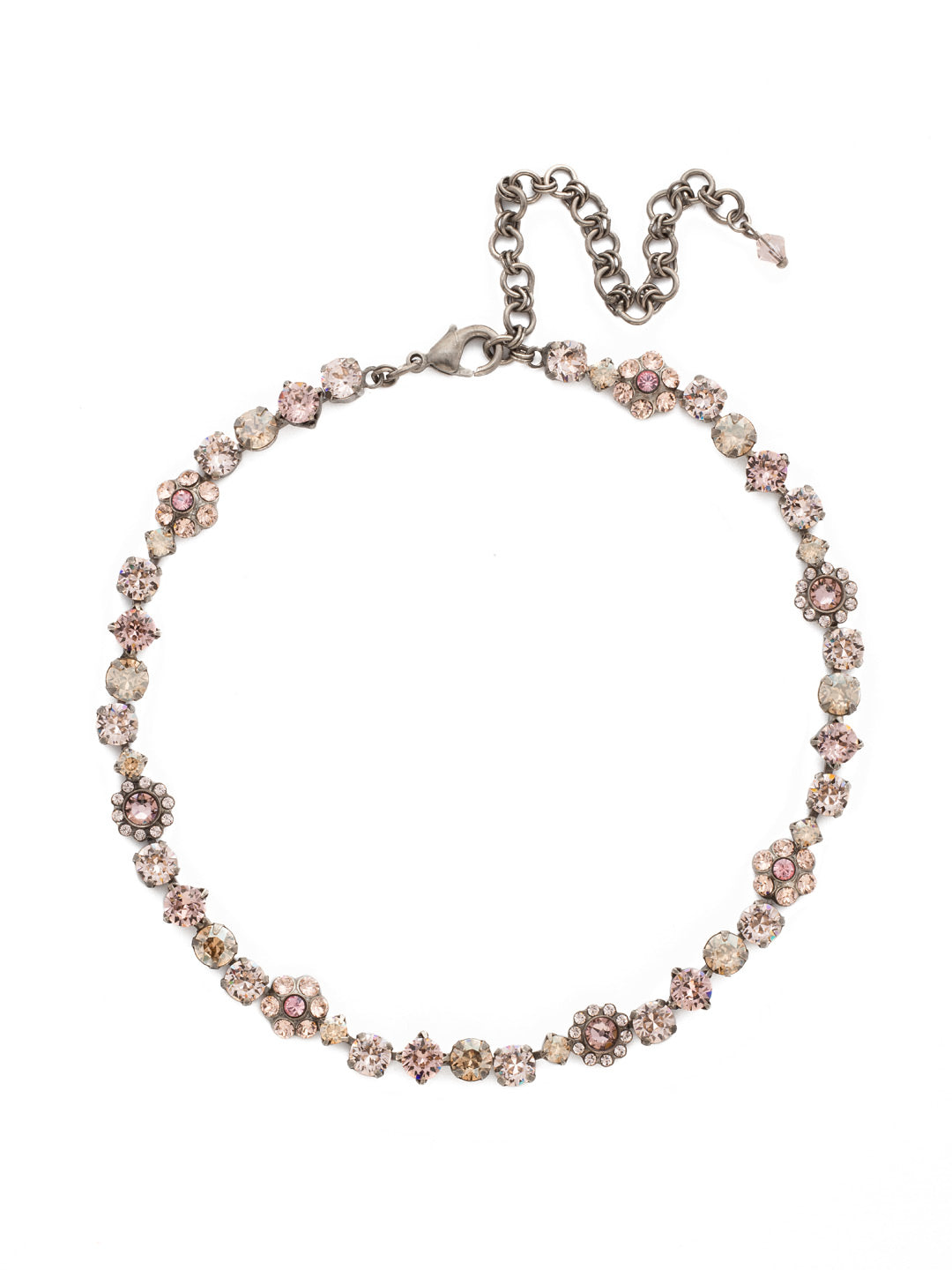 Classic Floral Tennis Necklace - NBE2ASSBL