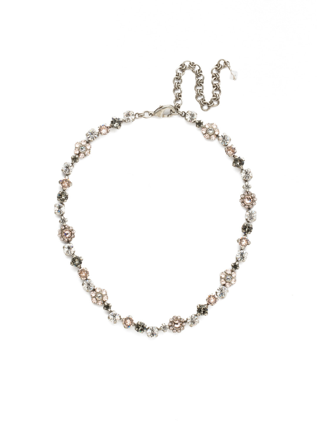 Classic Floral Tennis Necklace - NBE2ASSNB