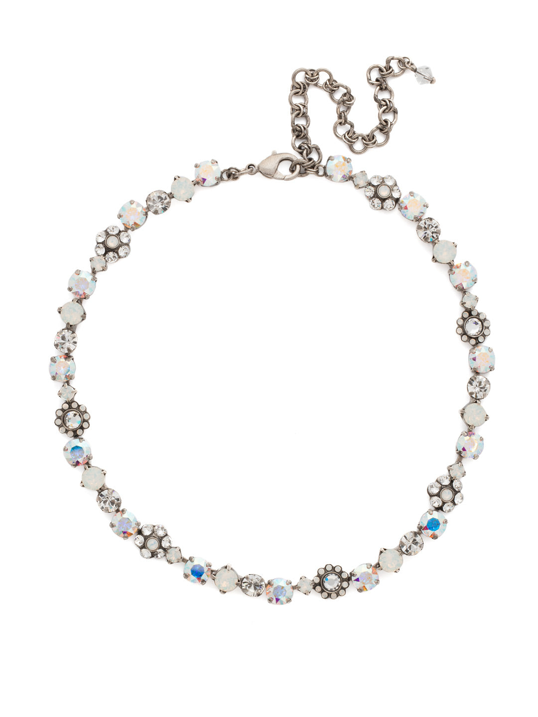 Classic Floral Tennis Necklace - NBE2ASWBR